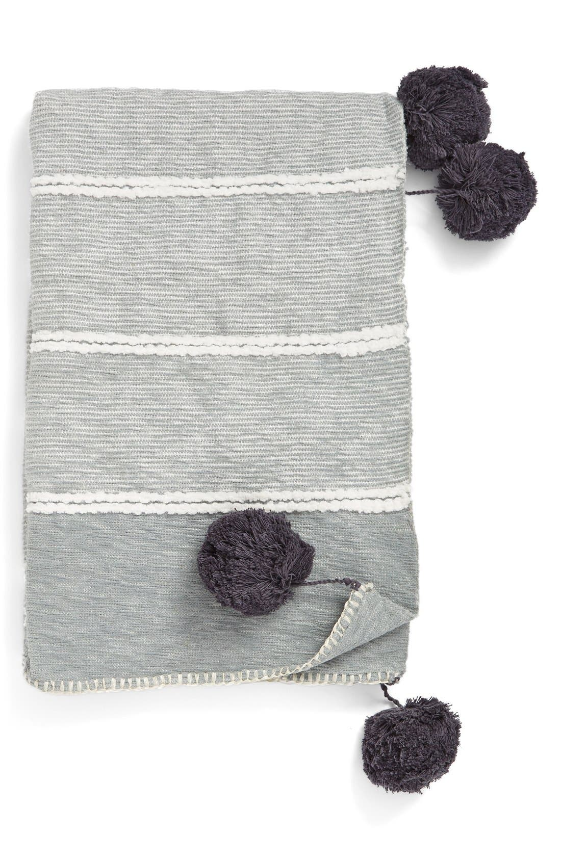 'Feather Stripe' Throw Blanket,                             Main thumbnail 1, color,                             Grey Silk