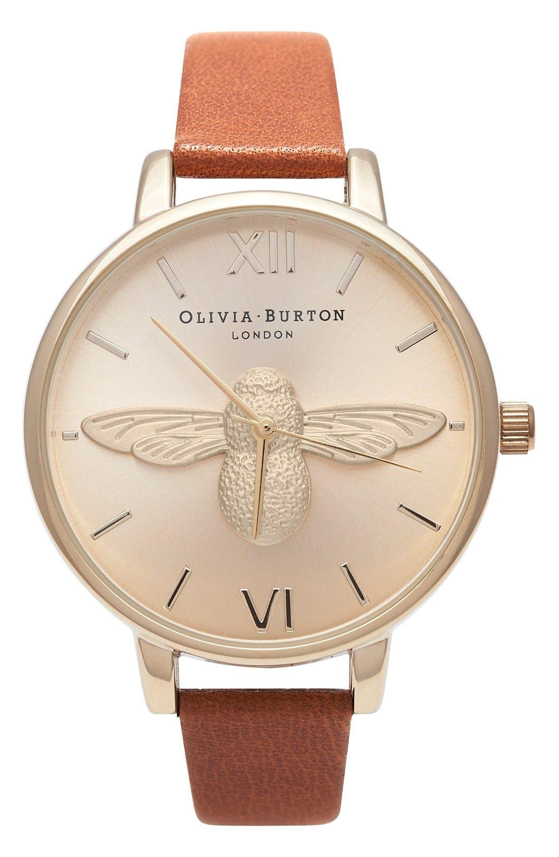 Main Image - Olivia Burton 'Molded Bee' Leather Strap Watch, 38mm