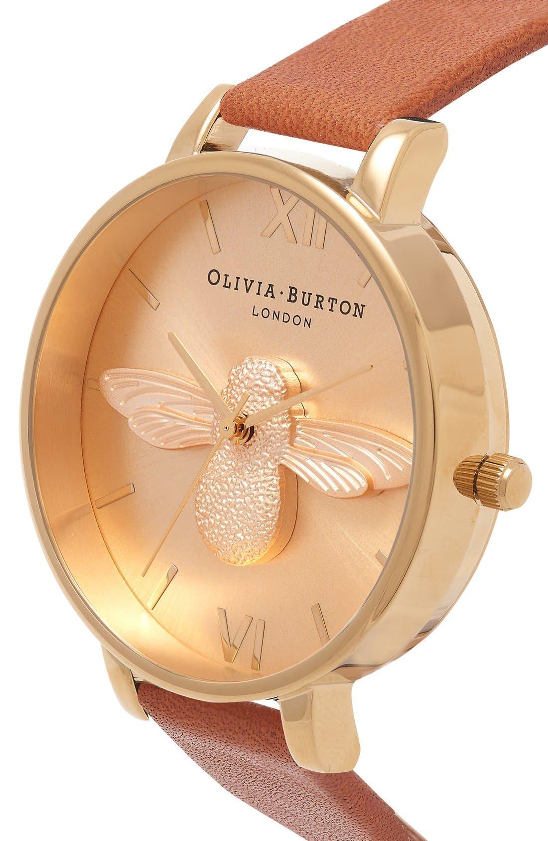 Alternate Image 2  - Olivia Burton 'Molded Bee' Leather Strap Watch, 38mm