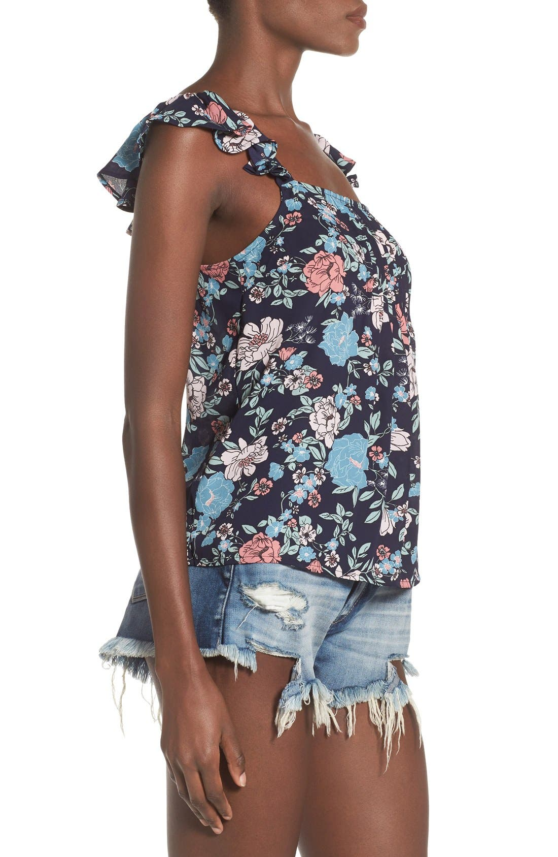 Alternate Image 3  - Leith Floral Print Pintuck Tank