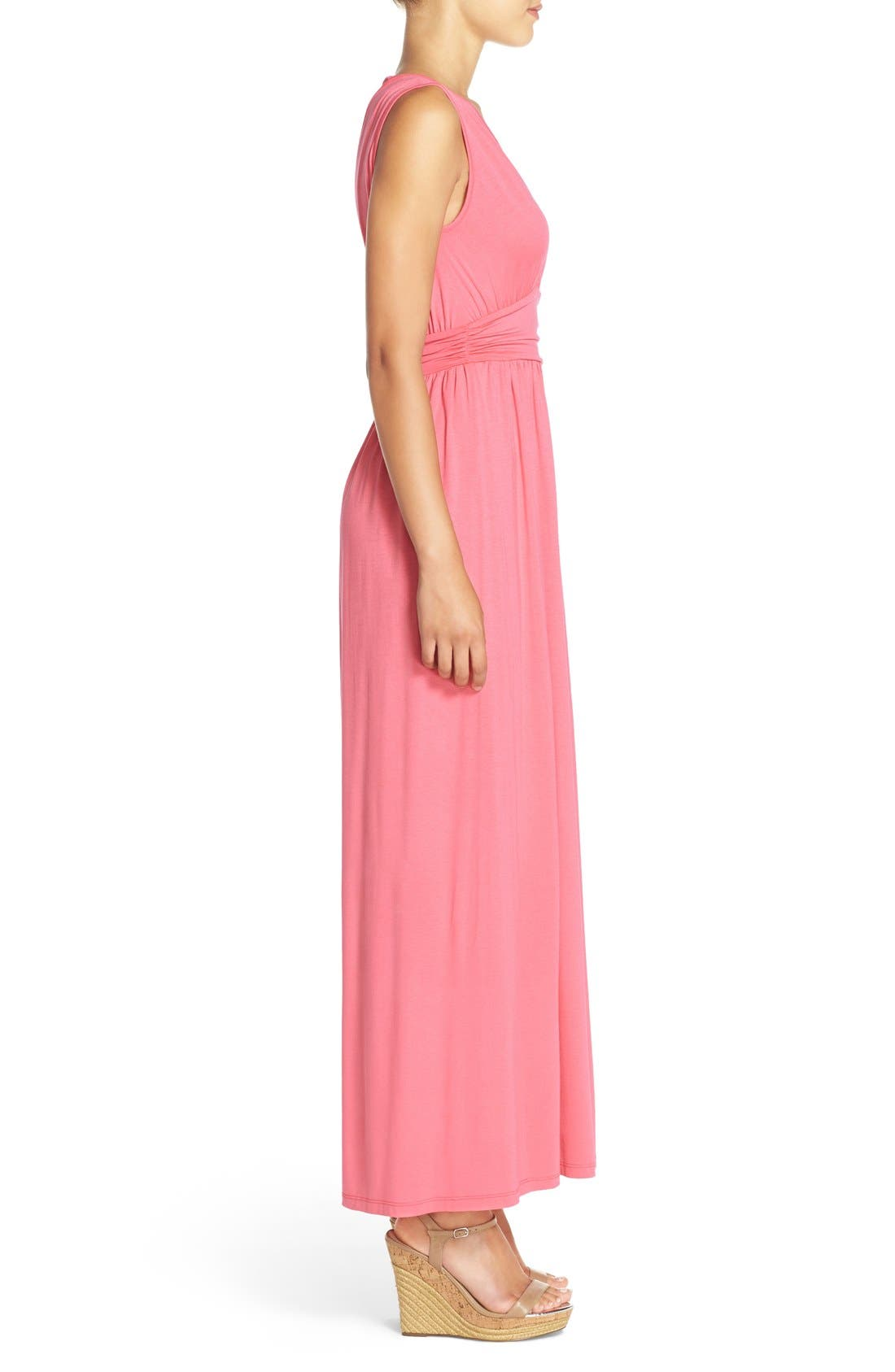 Surplice Jersey Maxi Dress,                             Alternate thumbnail 3, color,                             Coral