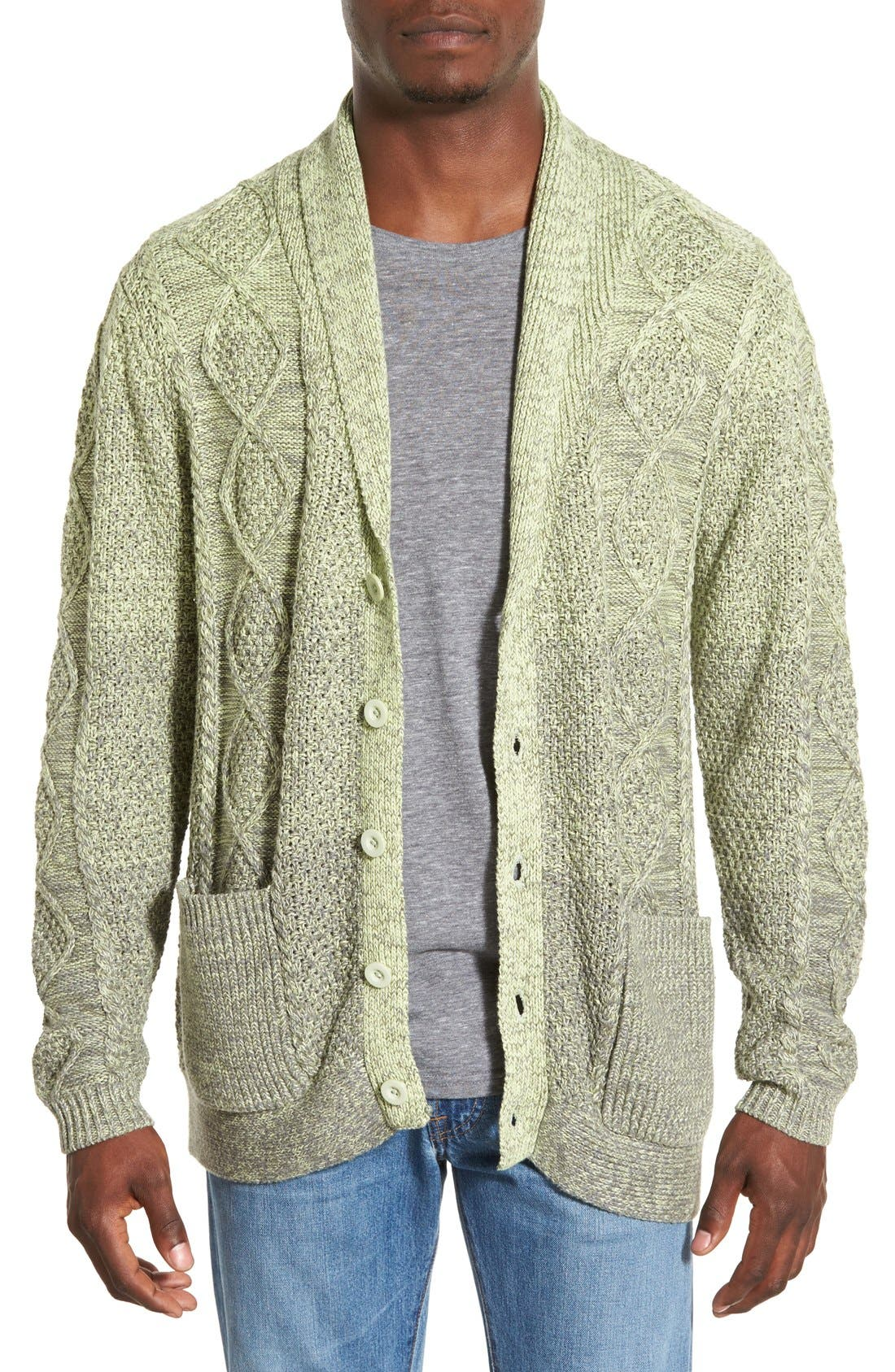 'Boston' Colorblock Mixed Knit Shawl Collar Cardigan,                         Main,                         color, Olive