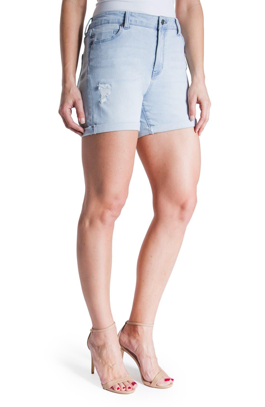 Vickie Denim Shorts,                             Alternate thumbnail 4, color,                             Super Bleach