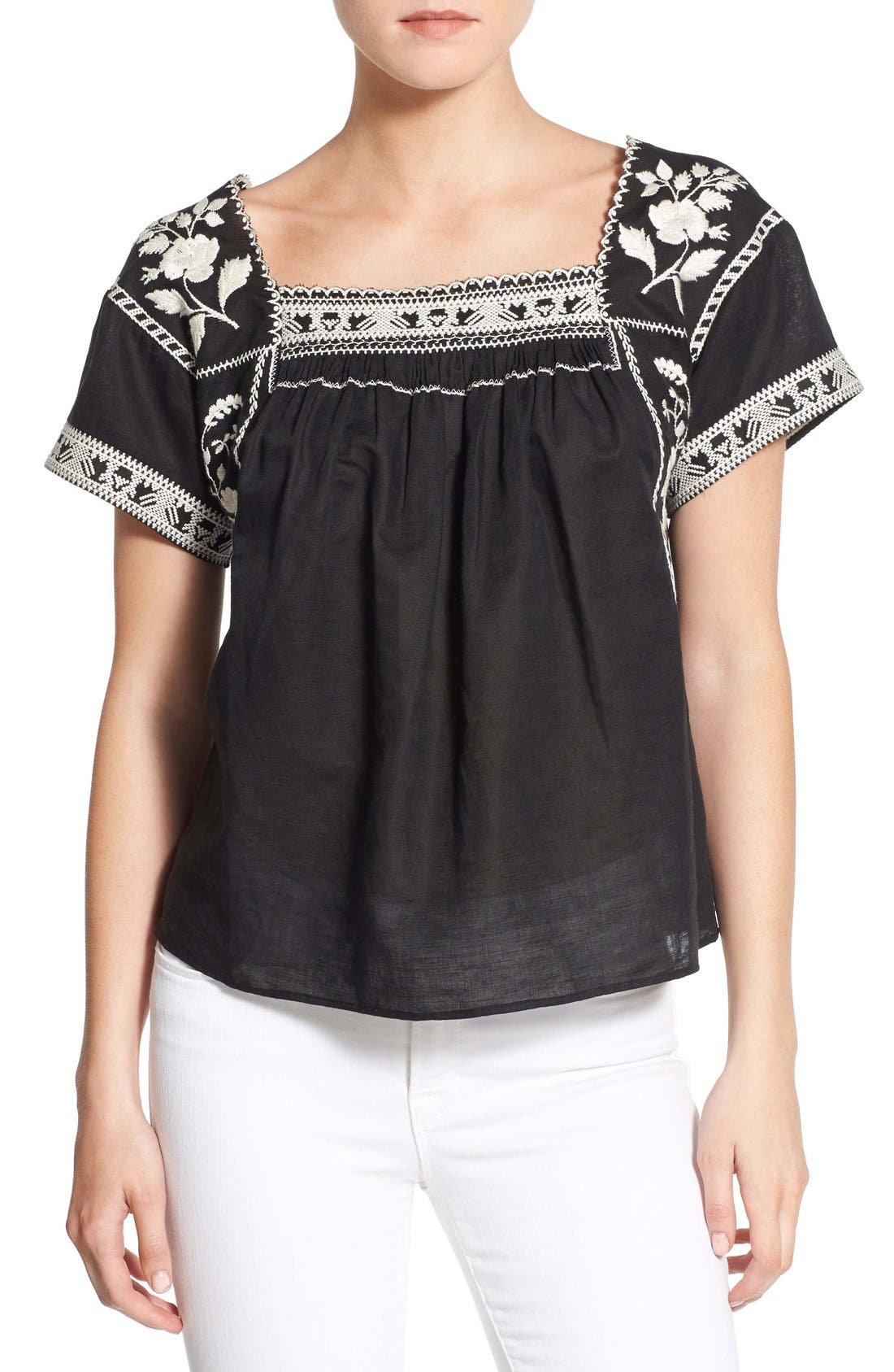 Wildfield Embroidered Top,                         Main,                         color, Classic Black