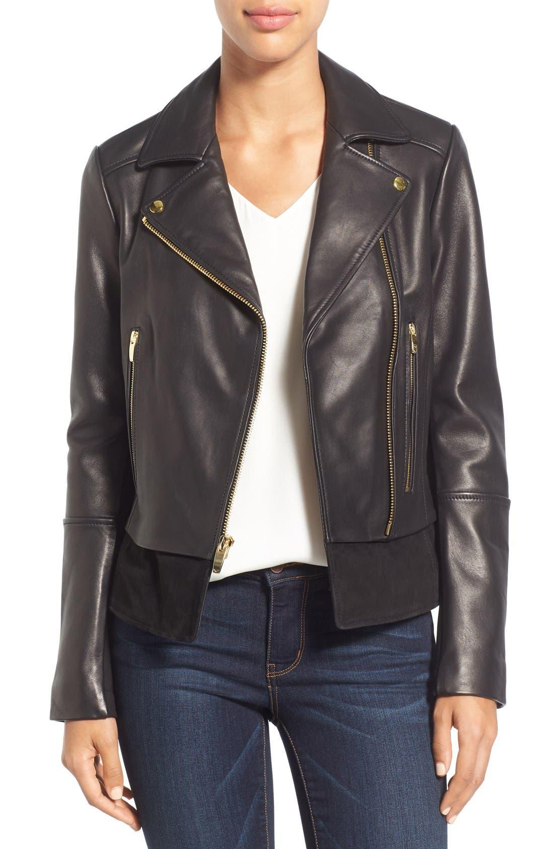 Mixed Media Leather Moto Jacket,                             Main thumbnail 1, color,                             Black