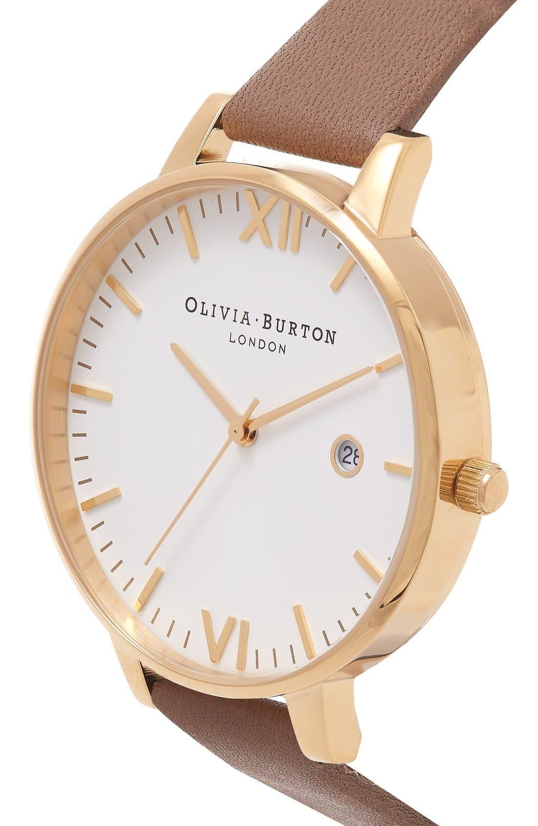 Alternate Image 2  - Olivia Burton 'Timeless' Leather Strap Watch, 38mm
