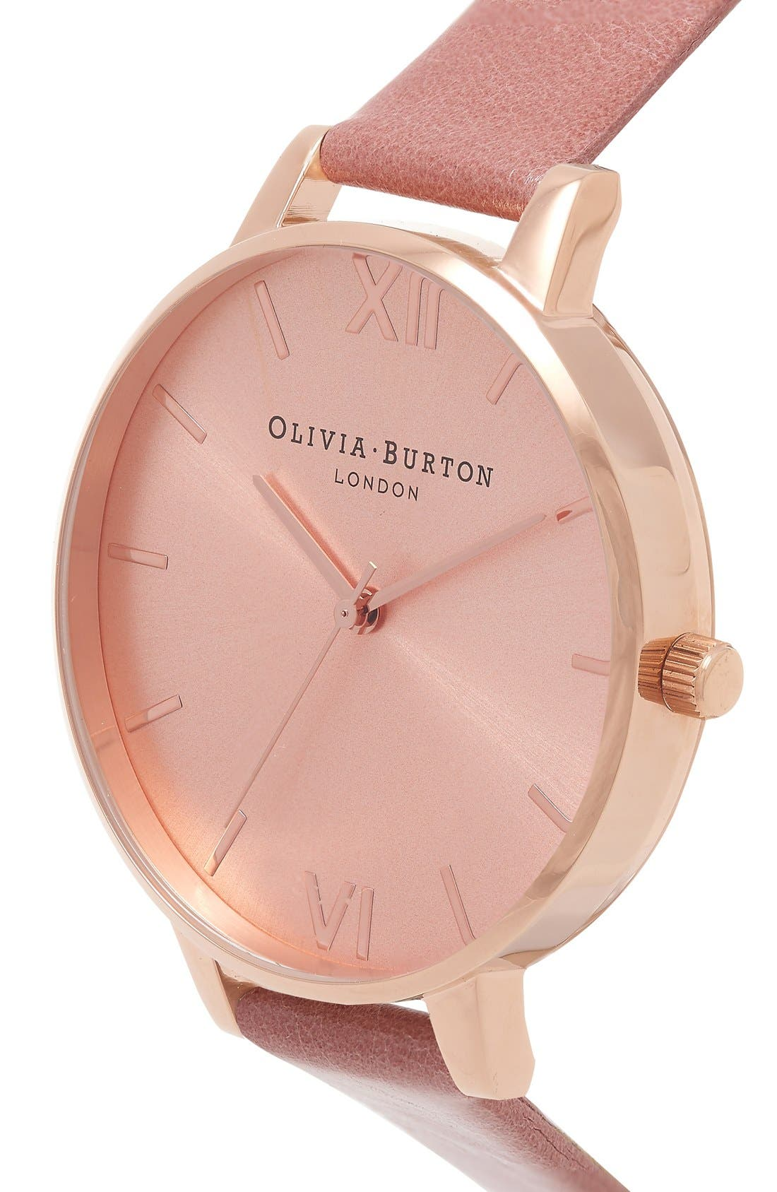 Big Dial Leather Strap Watch, 38mm,                             Alternate thumbnail 2, color,                             Rose/ Rose Gold