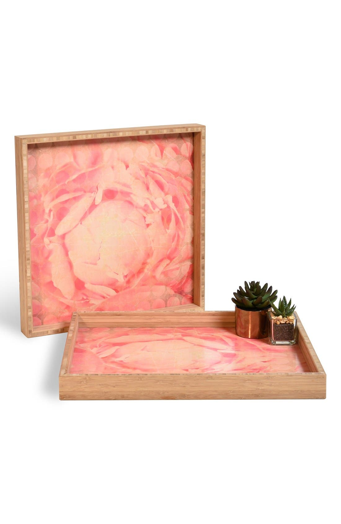 'Flowered Dots' Decorative Serving Tray,                             Main thumbnail 1, color,                             Pink