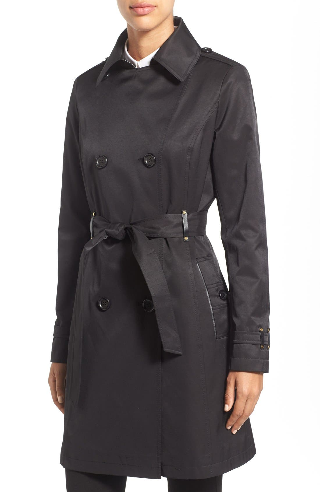 Alternate Image 4  - Via Spiga Double Breasted Trench with Faux Leather Trim