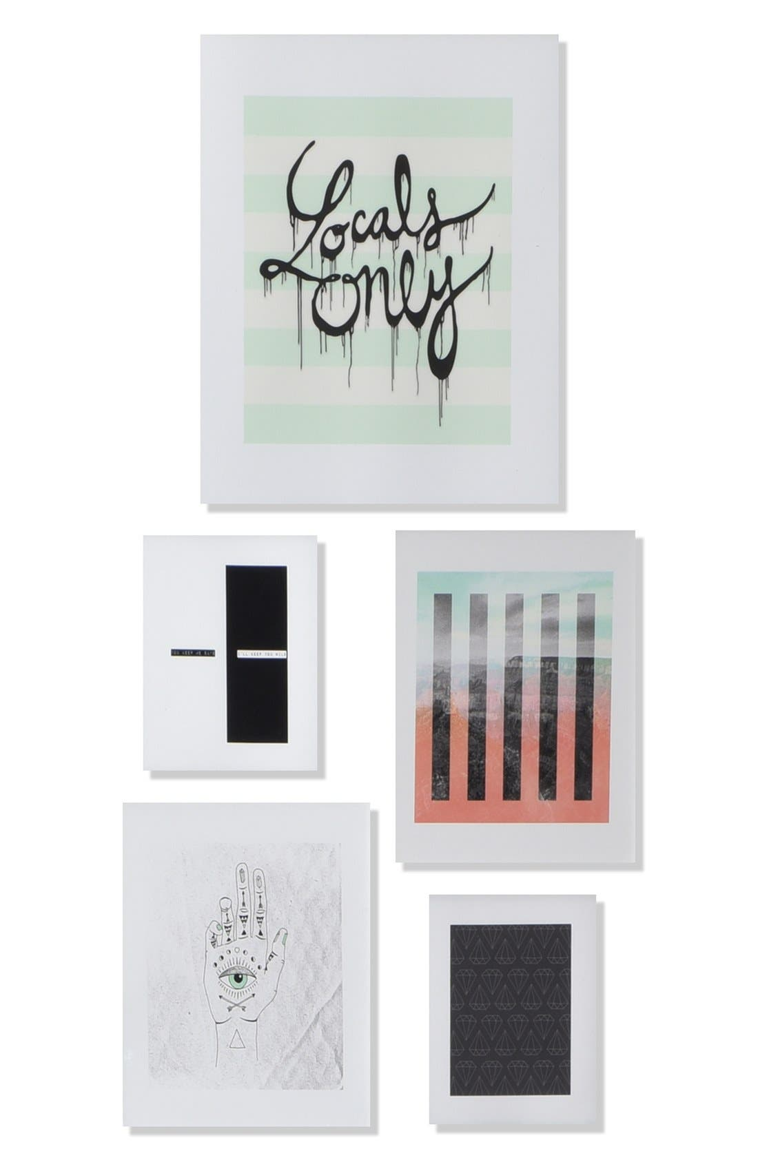 Main Image - Deny Designs 'Locals Only' Wall Art Gallery (Set of 5)