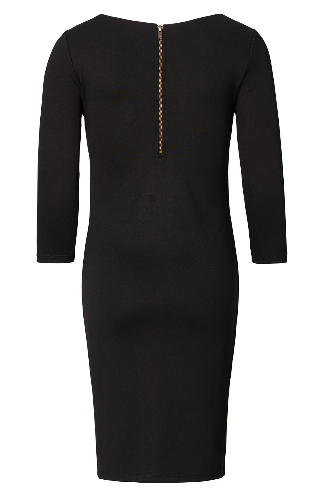 Maternity Dress,                             Alternate thumbnail 3, color,                             Black