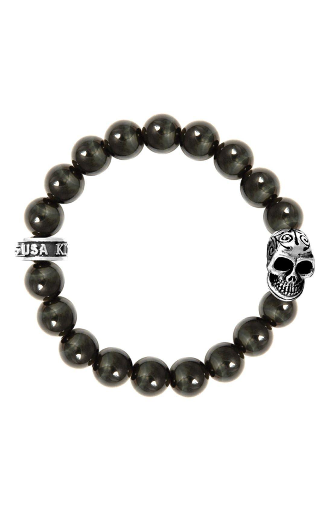 Tiger's Eye Bead Bracelet,                             Main thumbnail 1, color,                             Silver