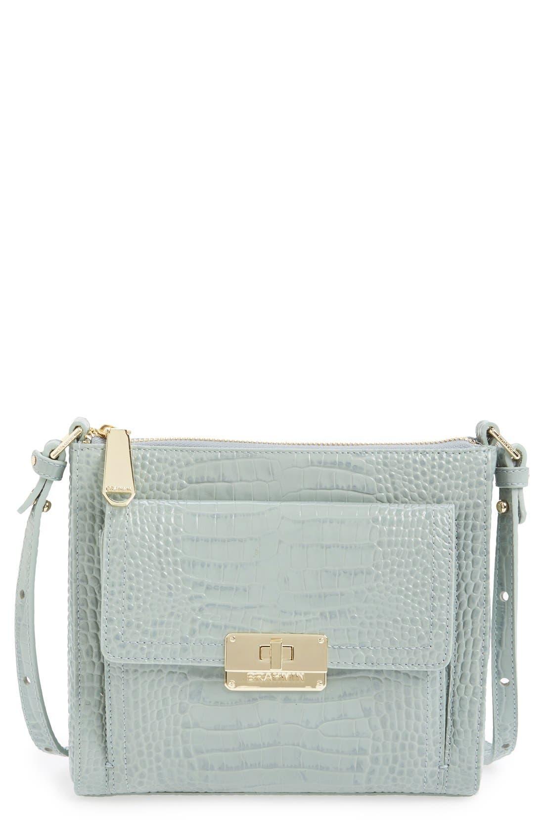 Alternate Image 1 Selected - Brahmin 'Mimosa' Croc Embossed Leather Crossbody Bag