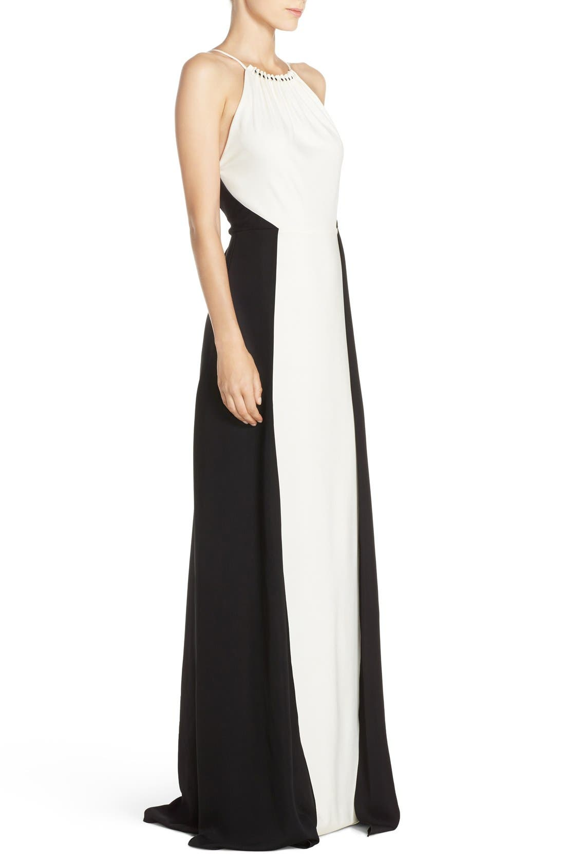 Alternate Image 3  - Halston Heritage Colorblock Crepe Gown