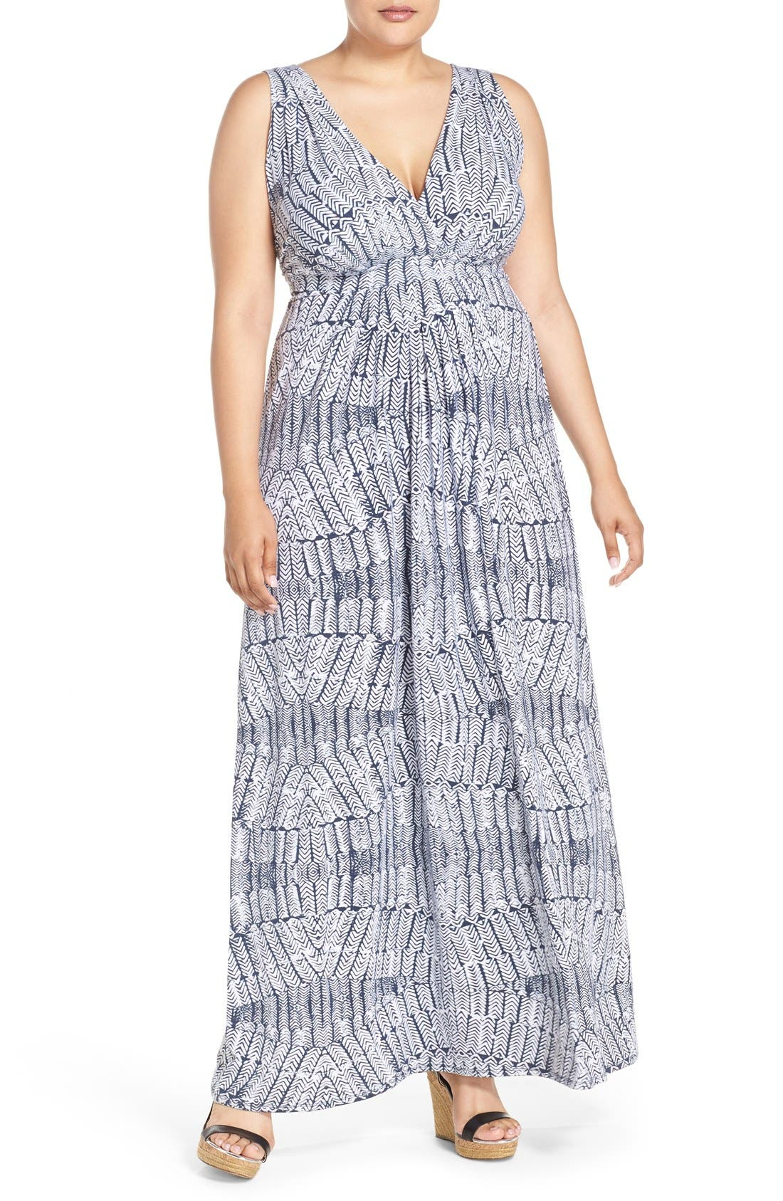 Chloe Empire Waist Maxi Dress,                             Main thumbnail 1, color,                             Stamped Feathers