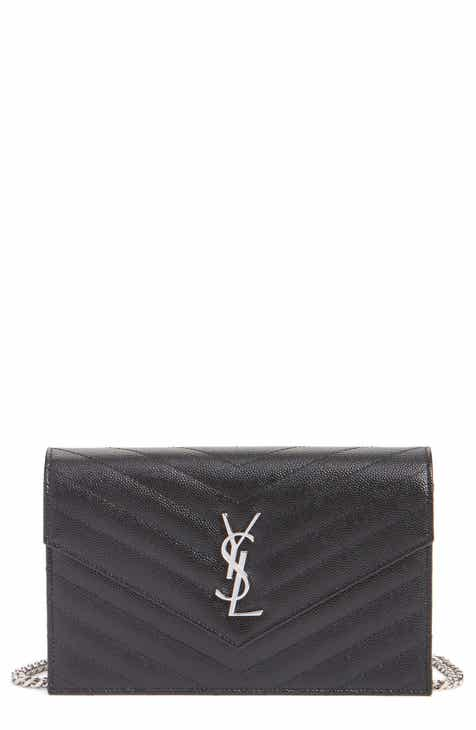 a4e064222163 Saint Laurent Quilted Calfskin Leather Wallet on a Chain