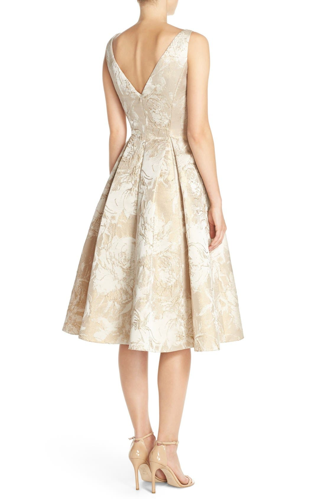 Alternate Image 2  - Aidan Mattox Floral Metallic Jacquard Fit & Flare Dress