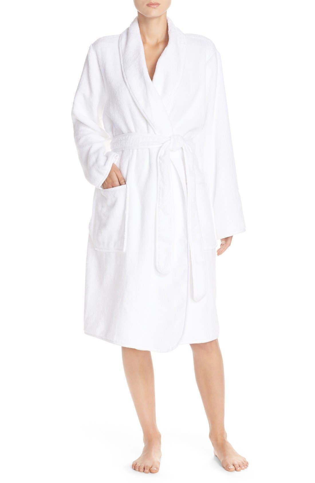 Terry Cotton Robe,                         Main,                         color, White