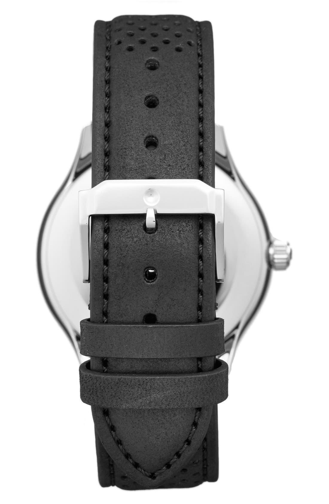 'Heritage' Leather Strap Watch, 40mm,                             Alternate thumbnail 2, color,                             Black/ Black