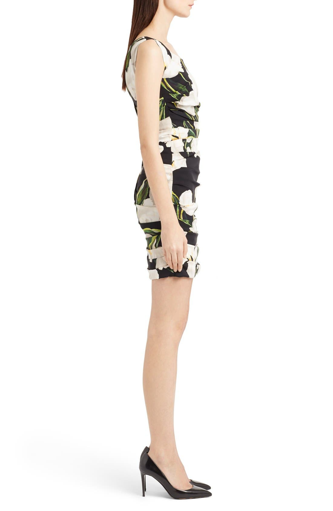 Alternate Image 4  - Dolce&Gabbana Ruched Tulip Print Stretch Silk Charmeuse Dress