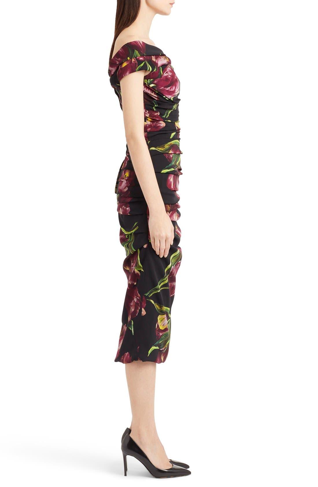Alternate Image 4  - Dolce&Gabbana Tulip Print Ruched Off the Shoulder Charmeuse Dres
