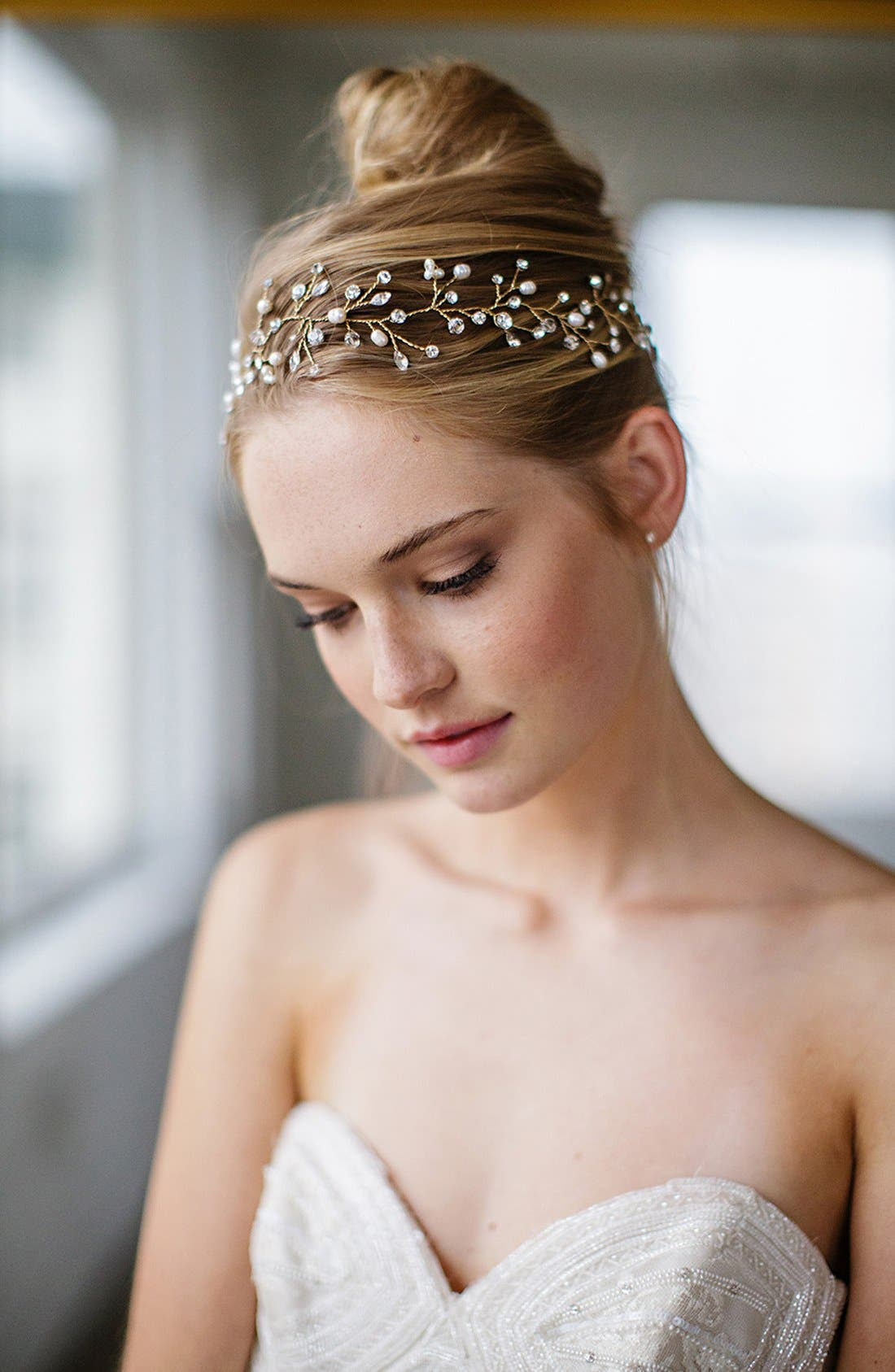 Main Image - Brides & Hairpins 'Vitalia' Pearl & Jeweled Head Band