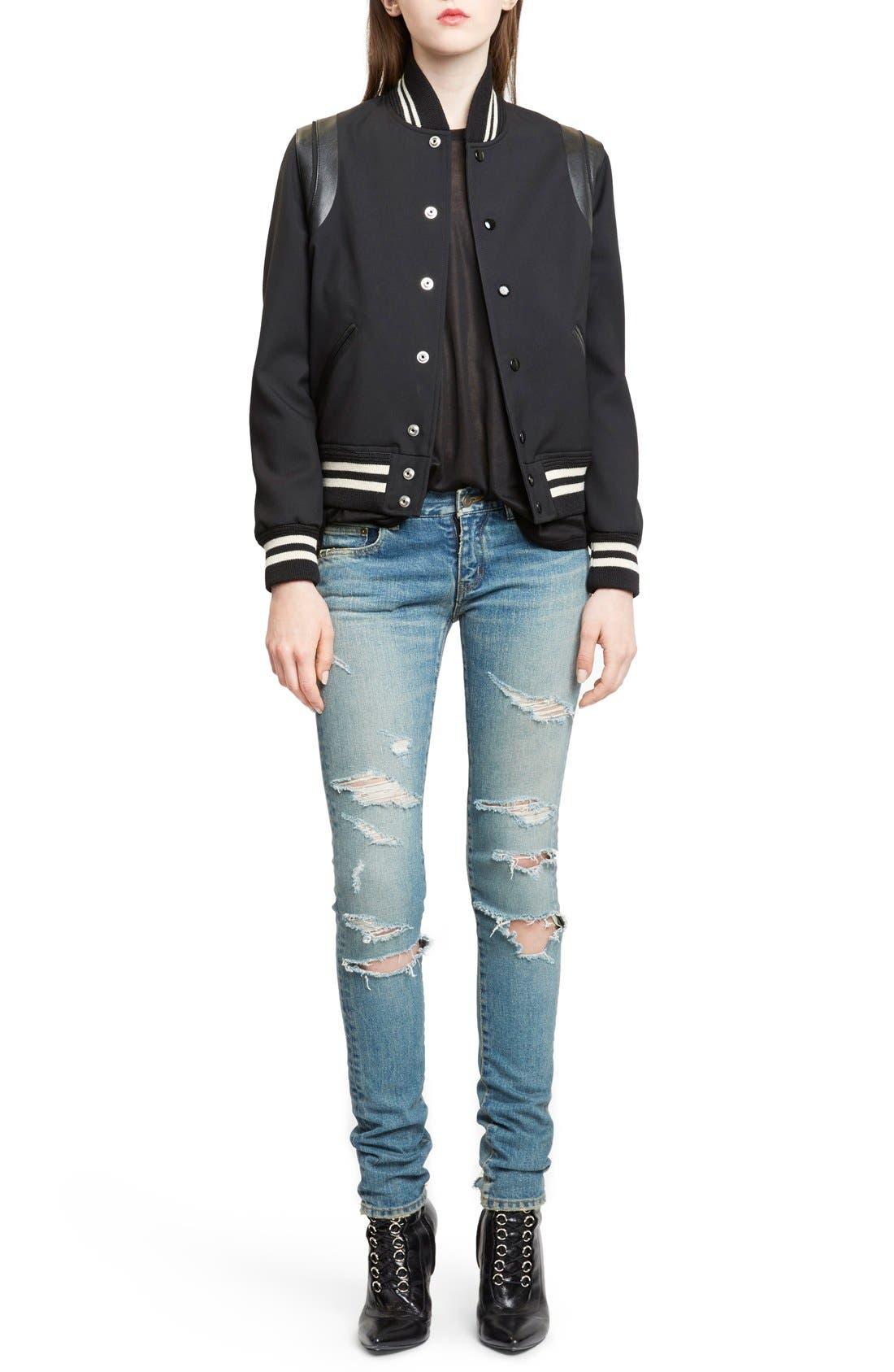 'Teddy' Black Leather Trim Bomber Jacket,                             Main thumbnail 1, color,                             Black