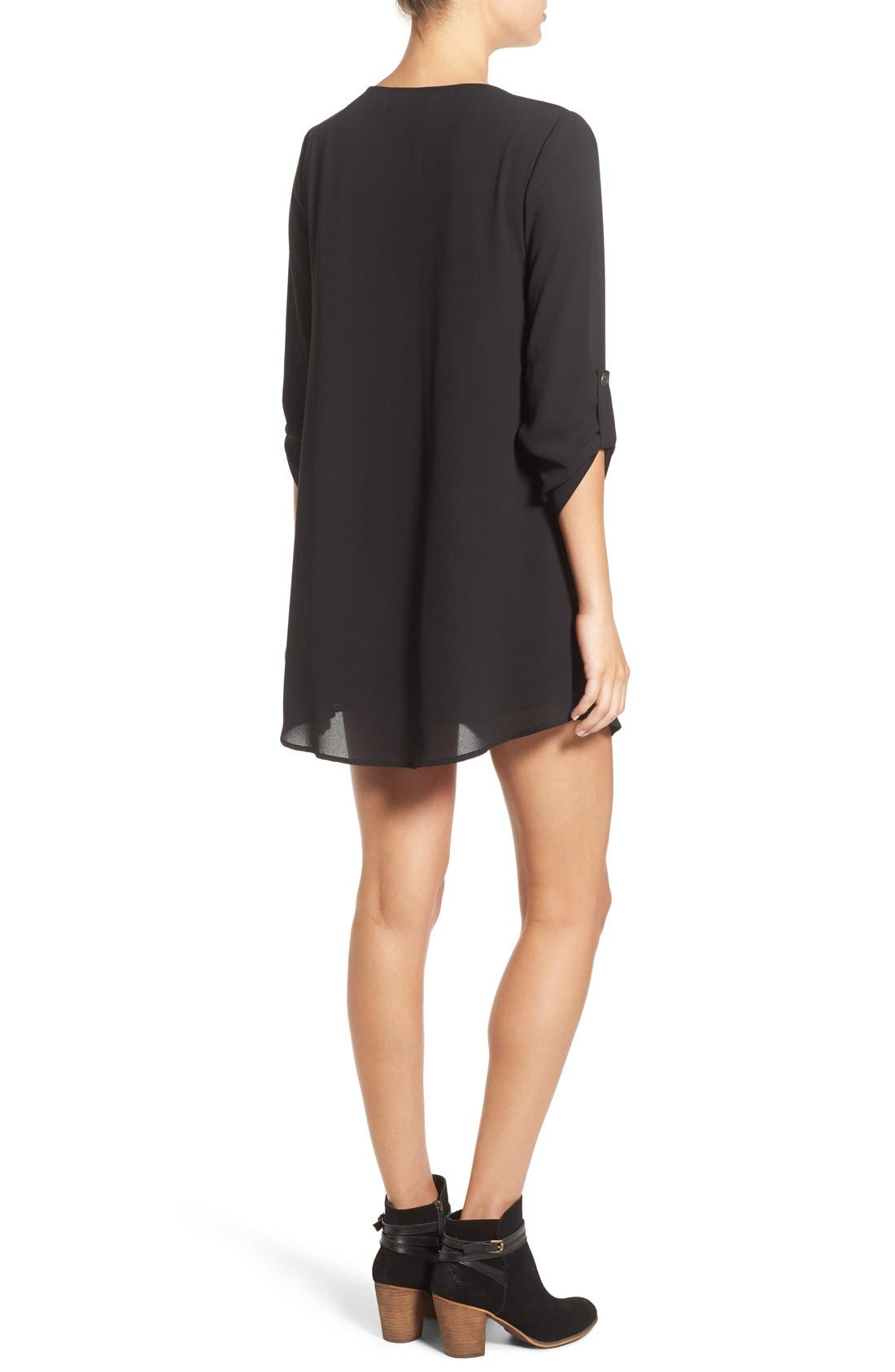 Karly Shift Dress,                             Alternate thumbnail 2, color,                             Black