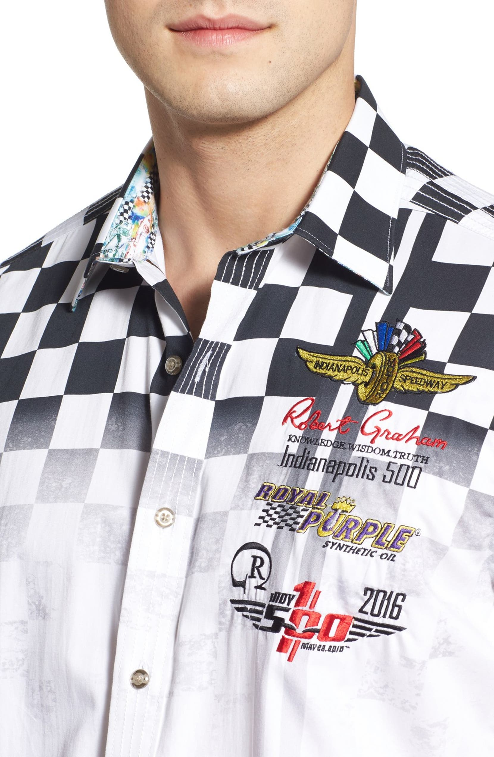 Robert Graham \'Indy 500™\' Classic Fit Embroidered Print Sport Shirt ...