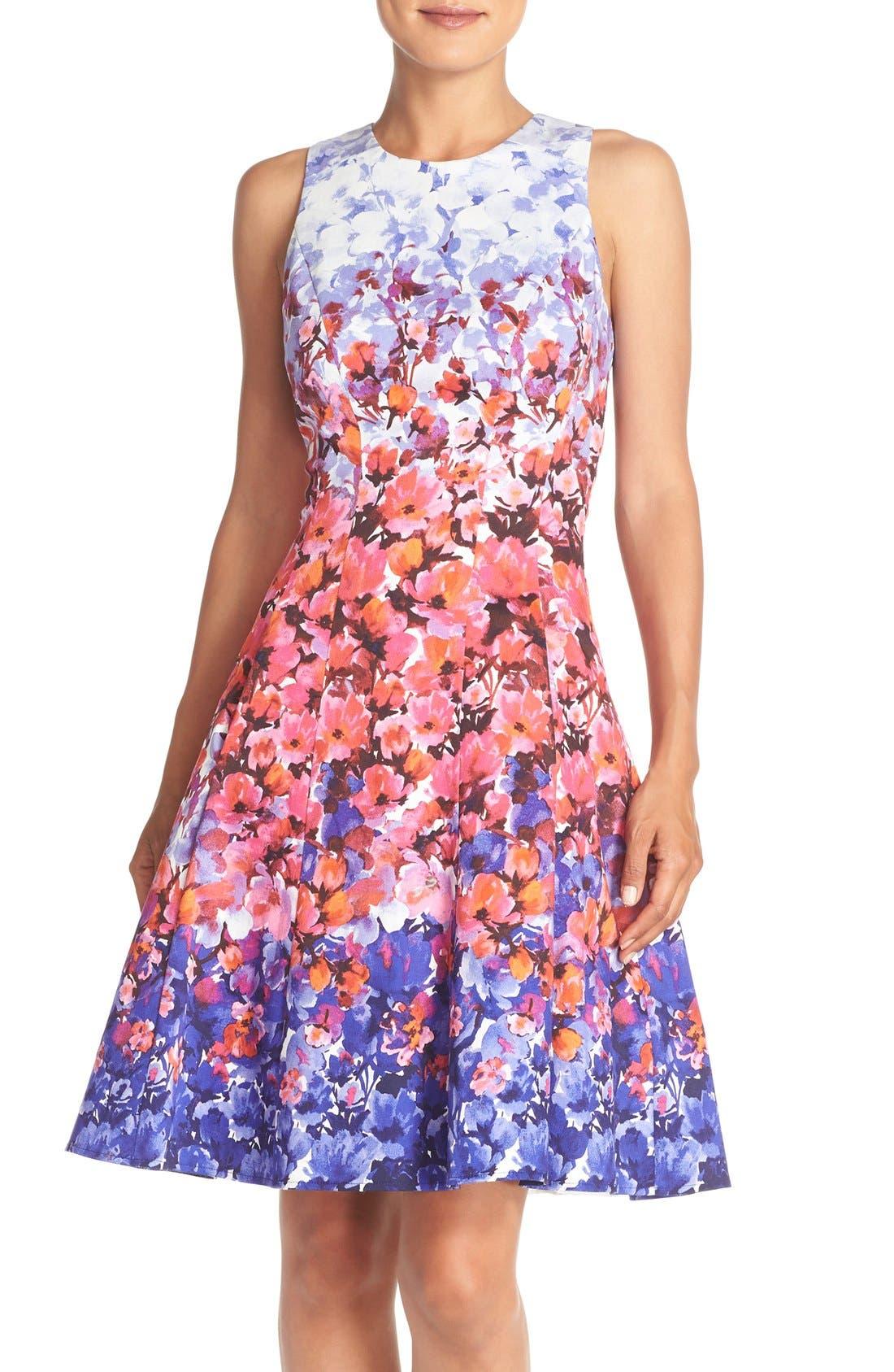 Main Image - Maggy London Floral Print Sateen Fit & Flare Dress (Regular & Petite)