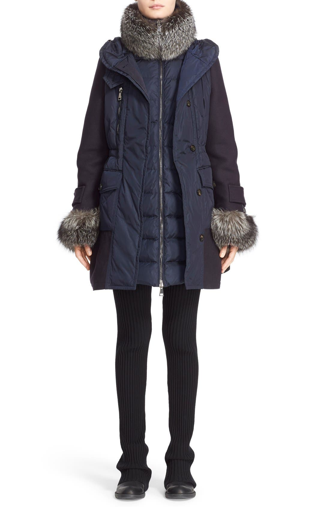 'Eles' Water Resistant Quilted Hooded Down Vest,                             Alternate thumbnail 7, color,                             Navy