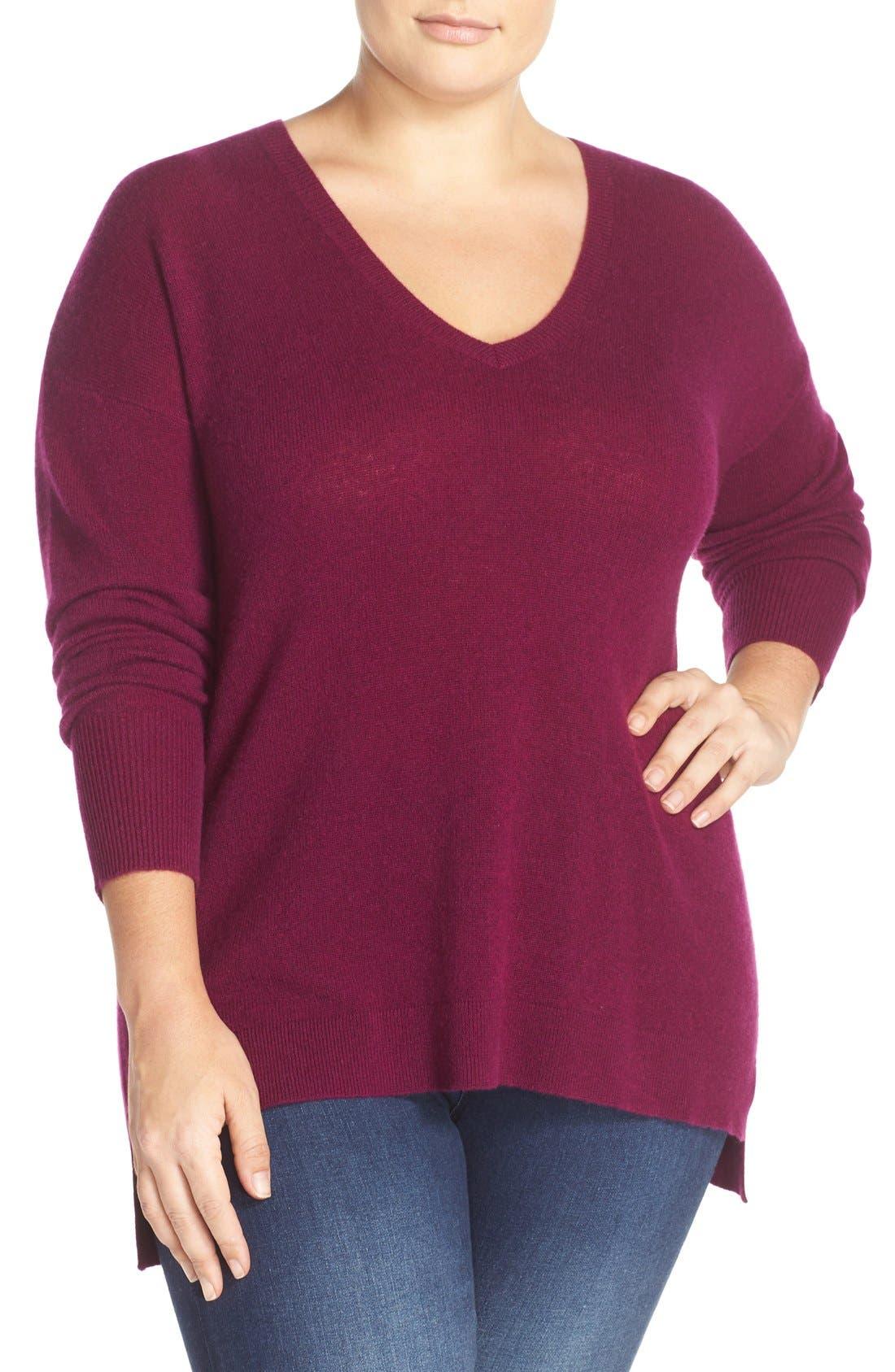 Main Image - Halogen® V-Neck Cashmere Sweater (Plus Size)