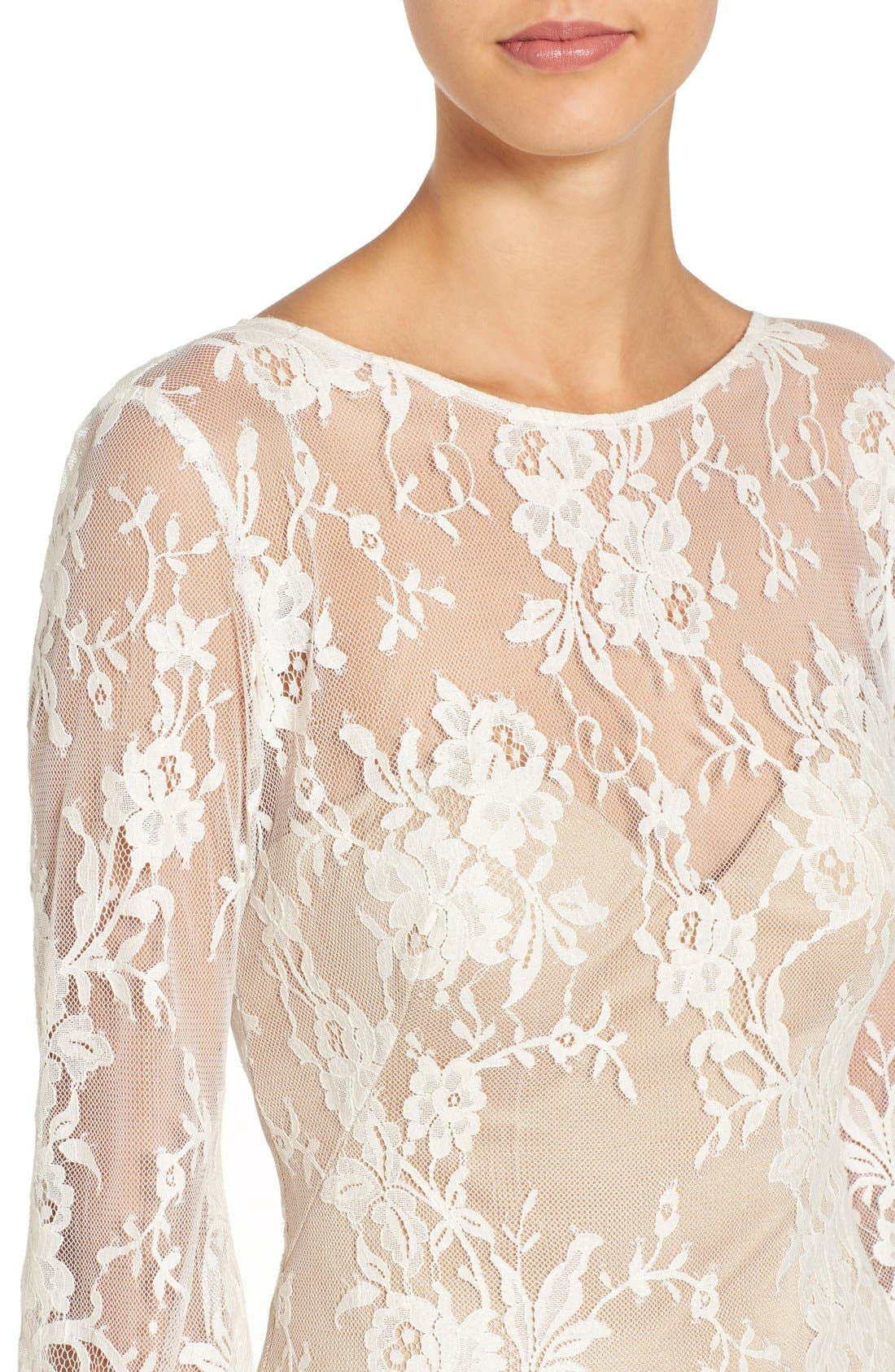 'Britney' Long Sleeve Open Back Lace Sheath Dress,                             Alternate thumbnail 4, color,                             Ivory/Nude
