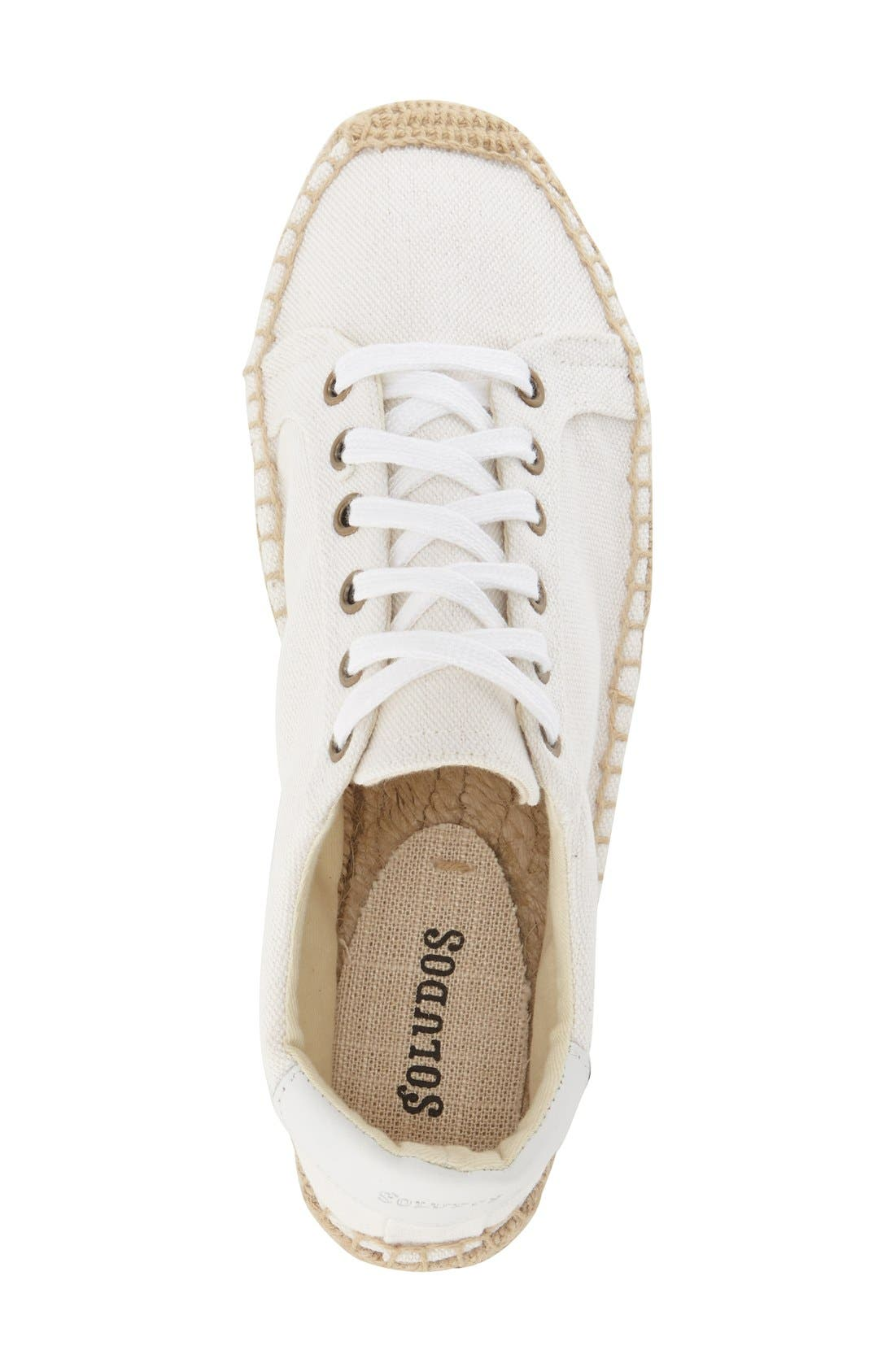 Espadrille Platform Sneaker,                             Alternate thumbnail 3, color,                             Bright White Canvas