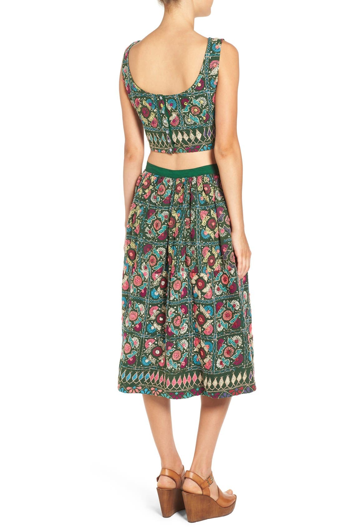 Alternate Image 4  - All Things Mochi Jaipur Print Crop Top & Midi Skirt Set