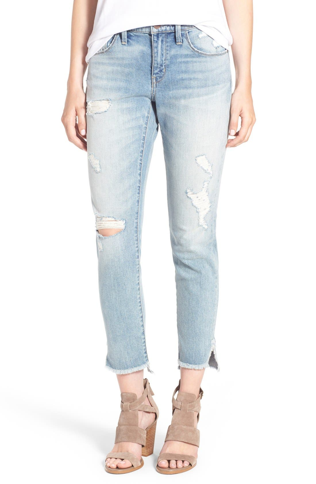 Main Image - Treasure&Bond Ankle Boyfriend Skinny Jeans (Gravel Light Destroy)