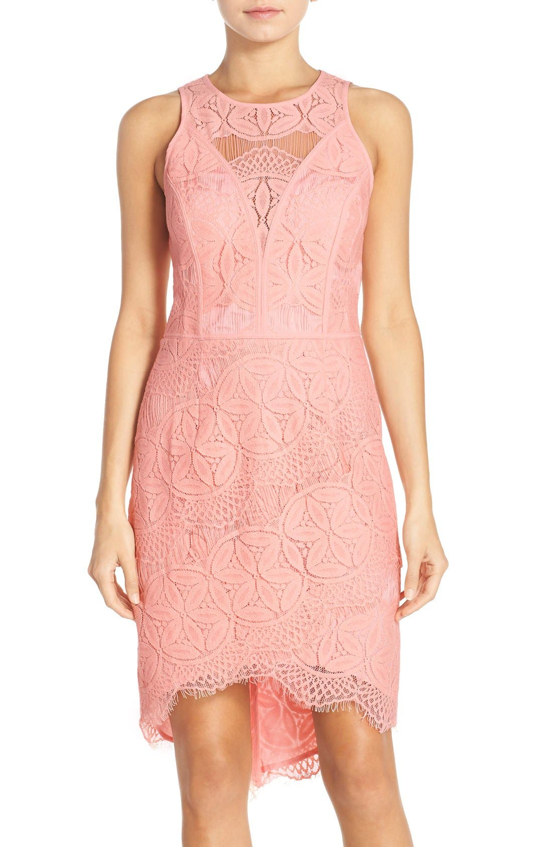 Alternate Image 1 Selected - Adelyn Rae Lace High/Low Sheath Dress