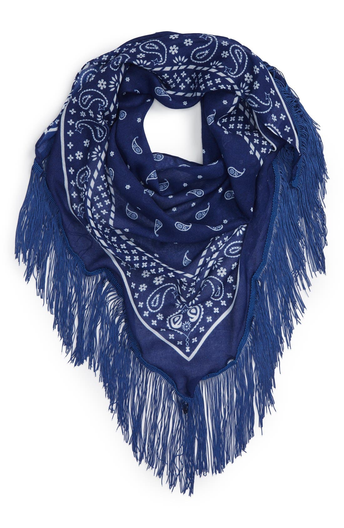 Alternate Image 1 Selected - BP. Paisley Print Fringe Triangle Scarf