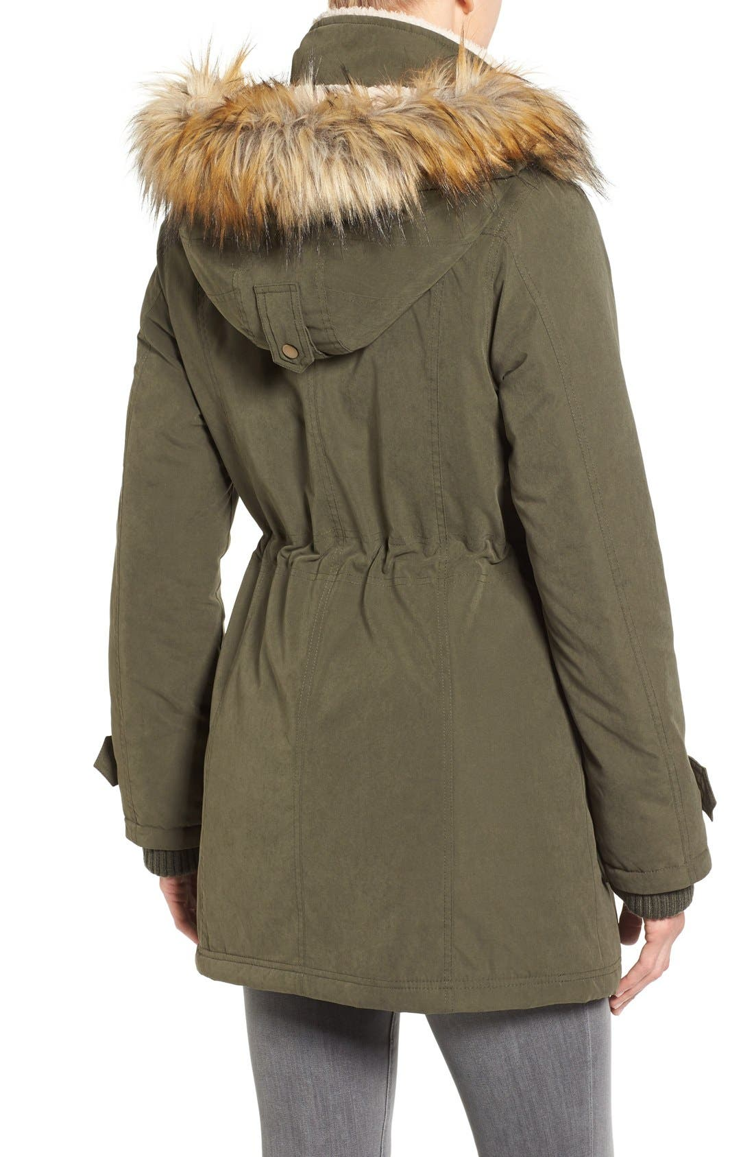 Hooded Anorak with Faux Fur Trim,                             Alternate thumbnail 3, color,                             Olive