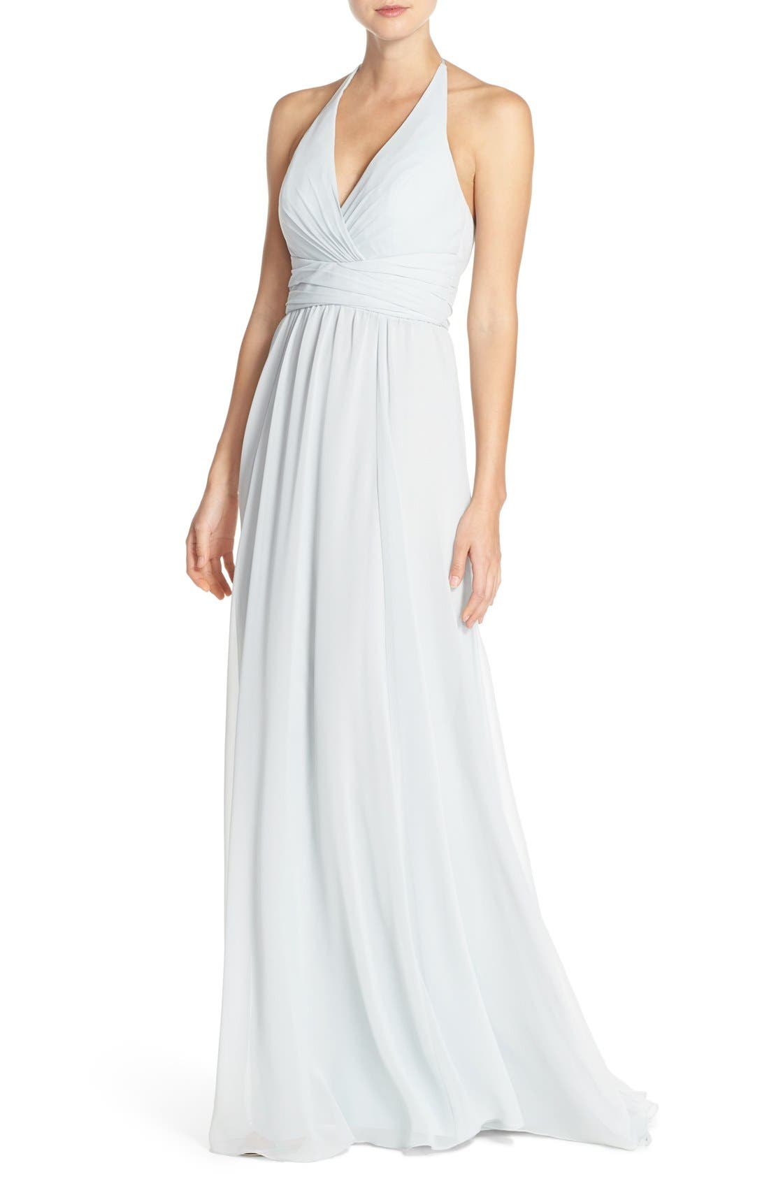 'Jennifer' V-Neck Chiffon Halter Gown,                             Alternate thumbnail 4, color,                             Spa