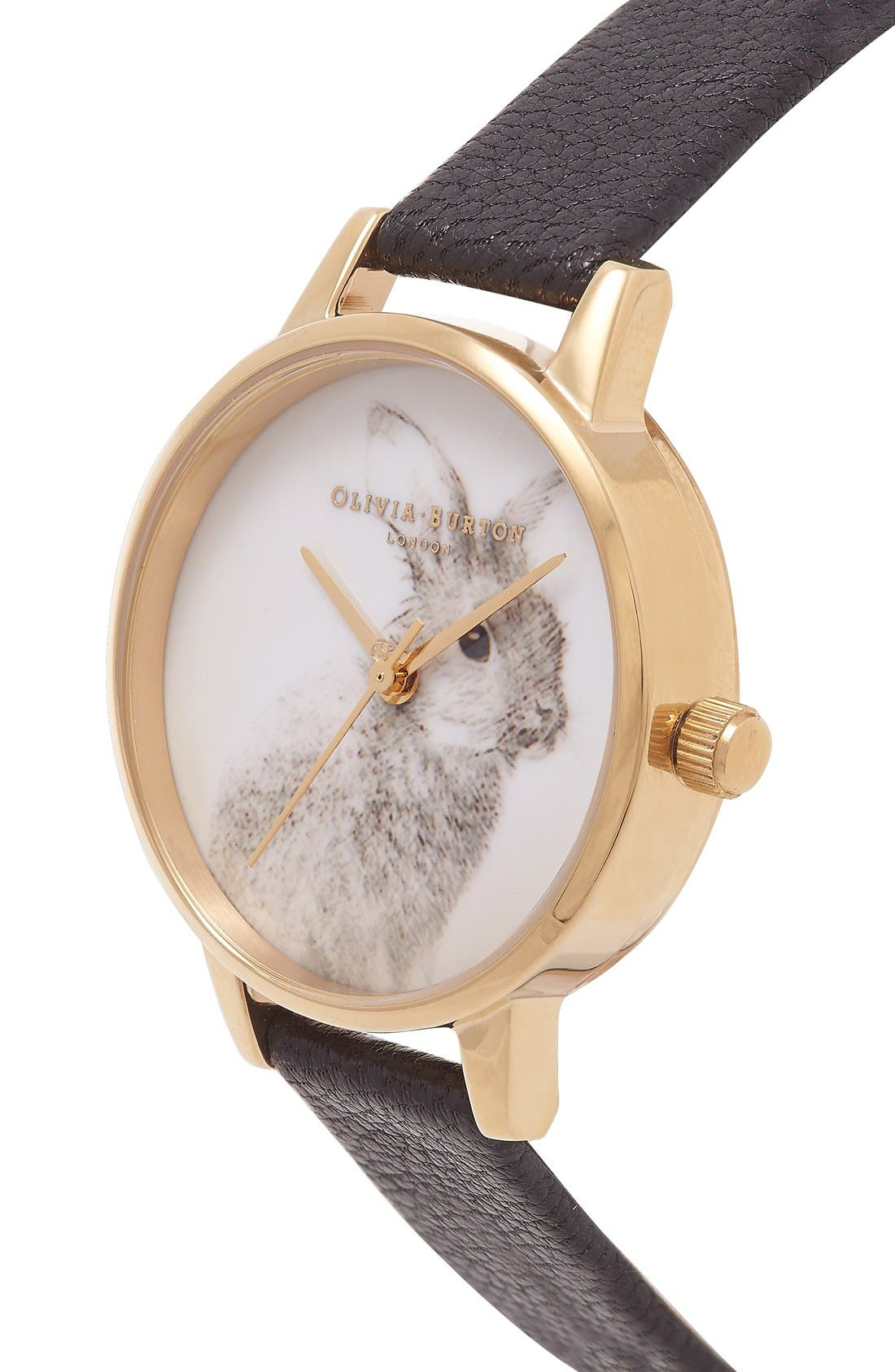 Alternate Image 2  - Olivia Burton 'Woodland Bunny' Faux Leather Strap Watch, 30mm