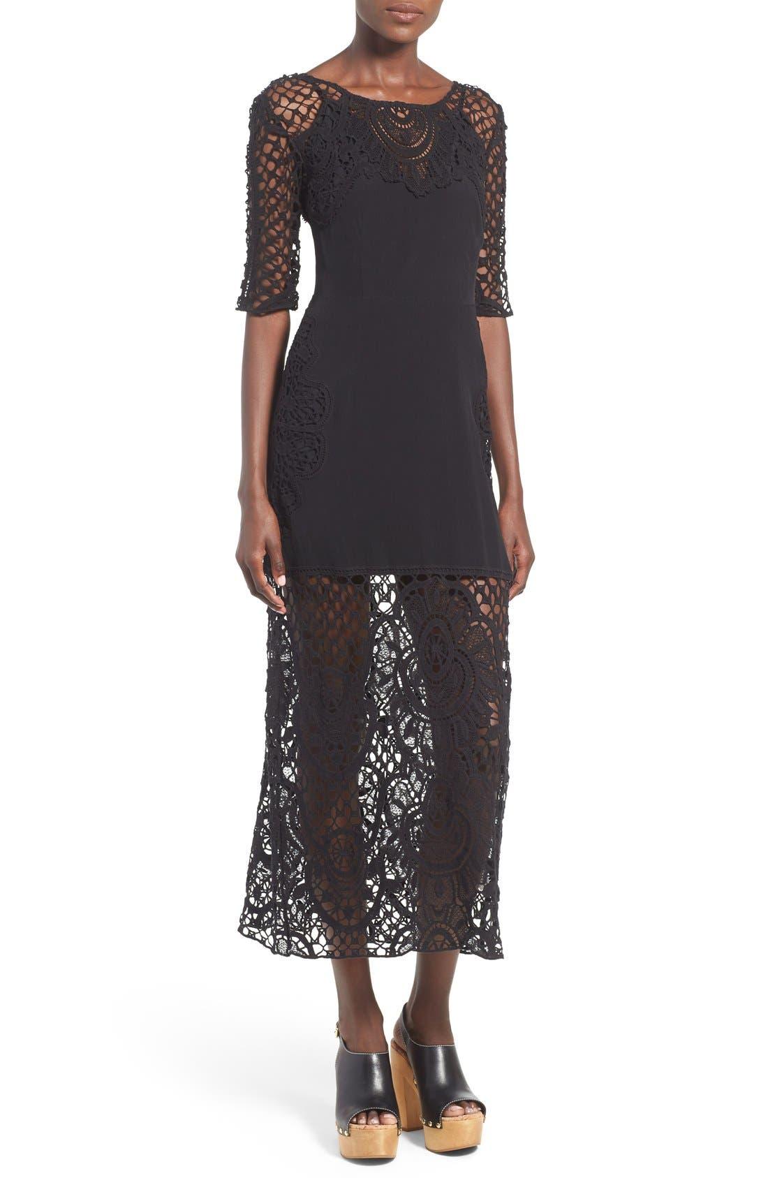 Main Image - For Love & Lemons 'Gracey' Illusion Lace Midi Dress