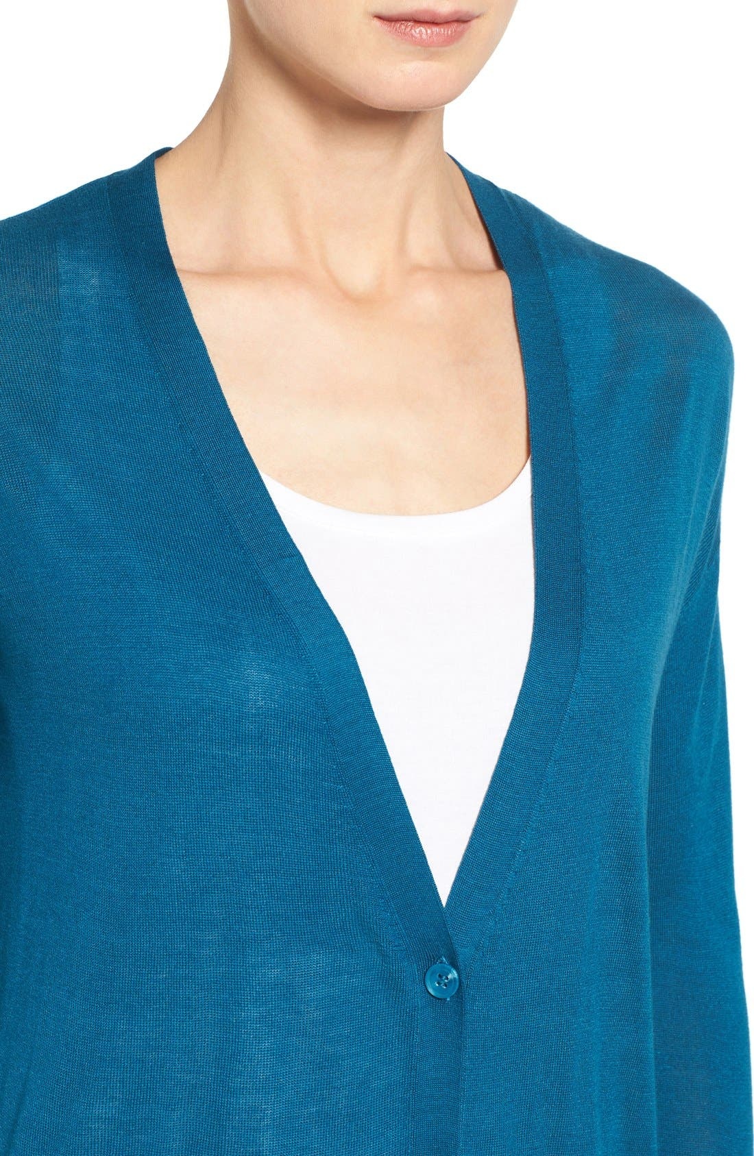 Alternate Image 4  - Halogen® Lightweight V-Neck Cardigan (Regular & Petite)