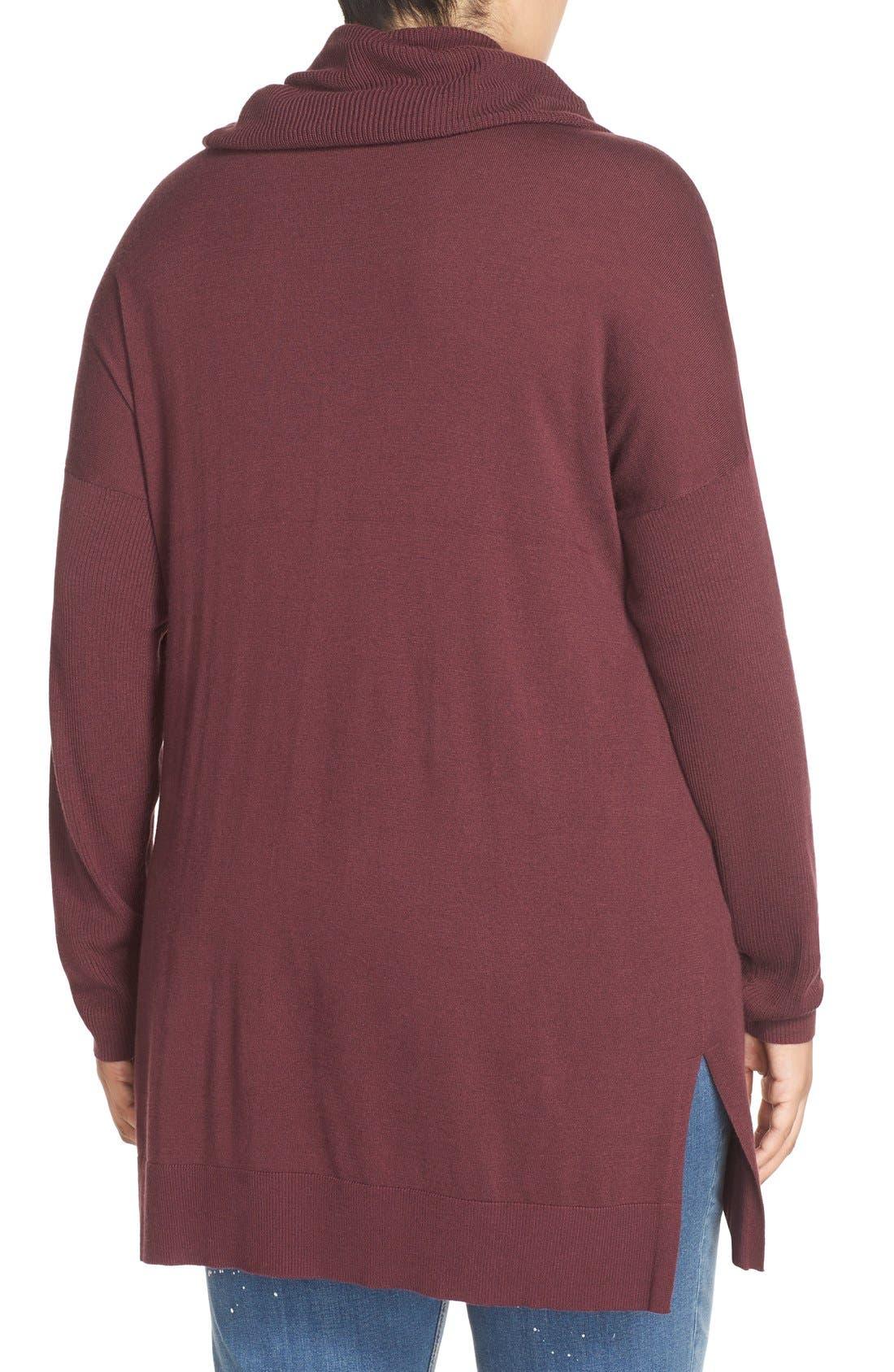 Alternate Image 2  - Caslon® Cowl Neck Tunic Sweater (Plus Size)