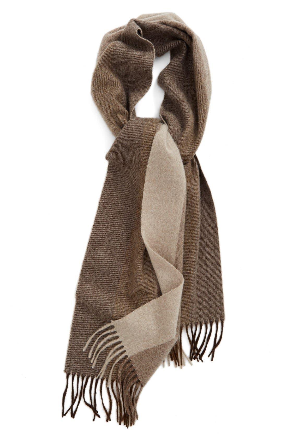 Nordstrom Vertical Degradé Stripe Cashmere Scarf,                         Main,                         color, Brown Combo
