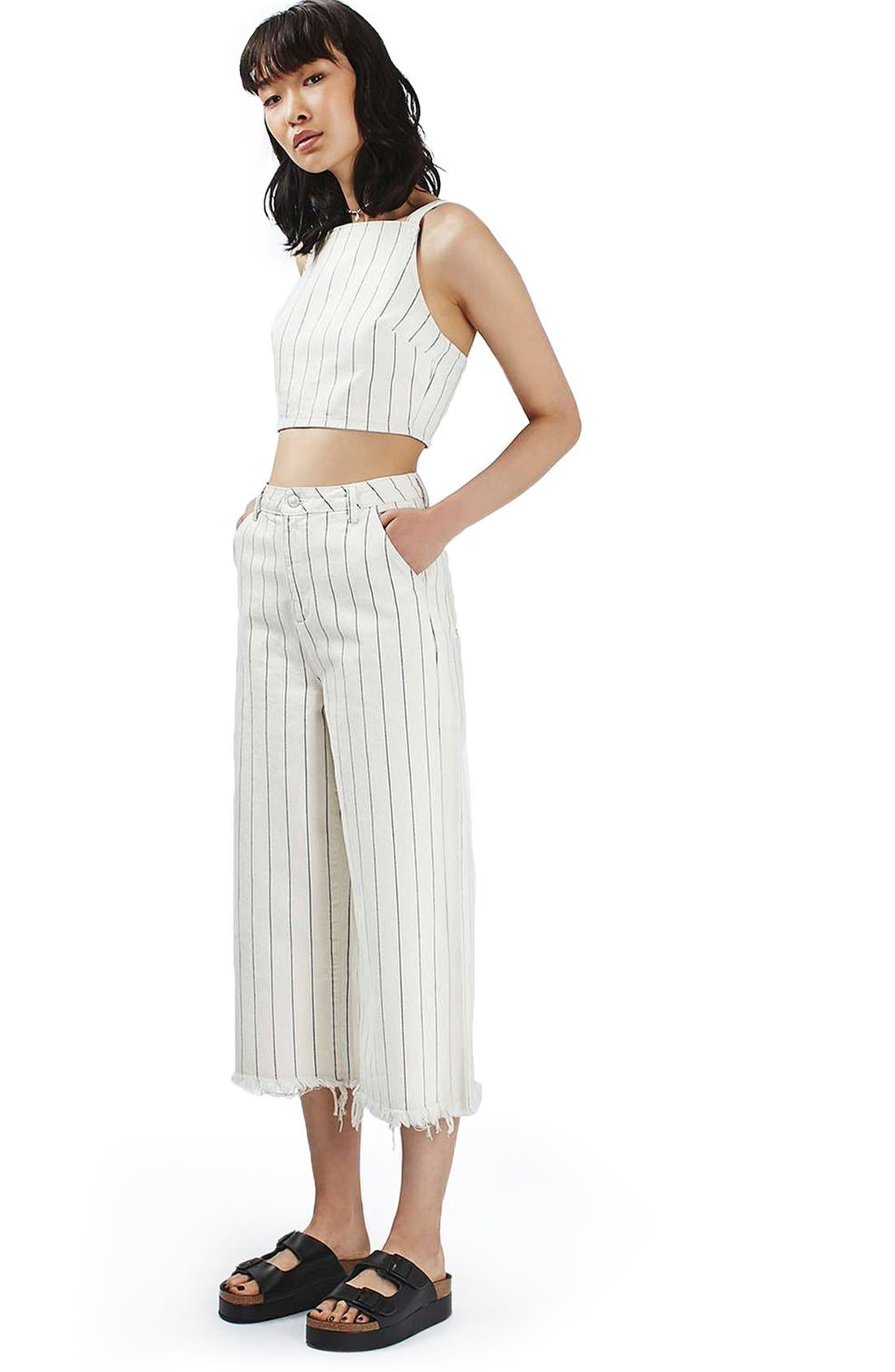 Alternate Image 2  - Topshop Stripe Denim Crop Top