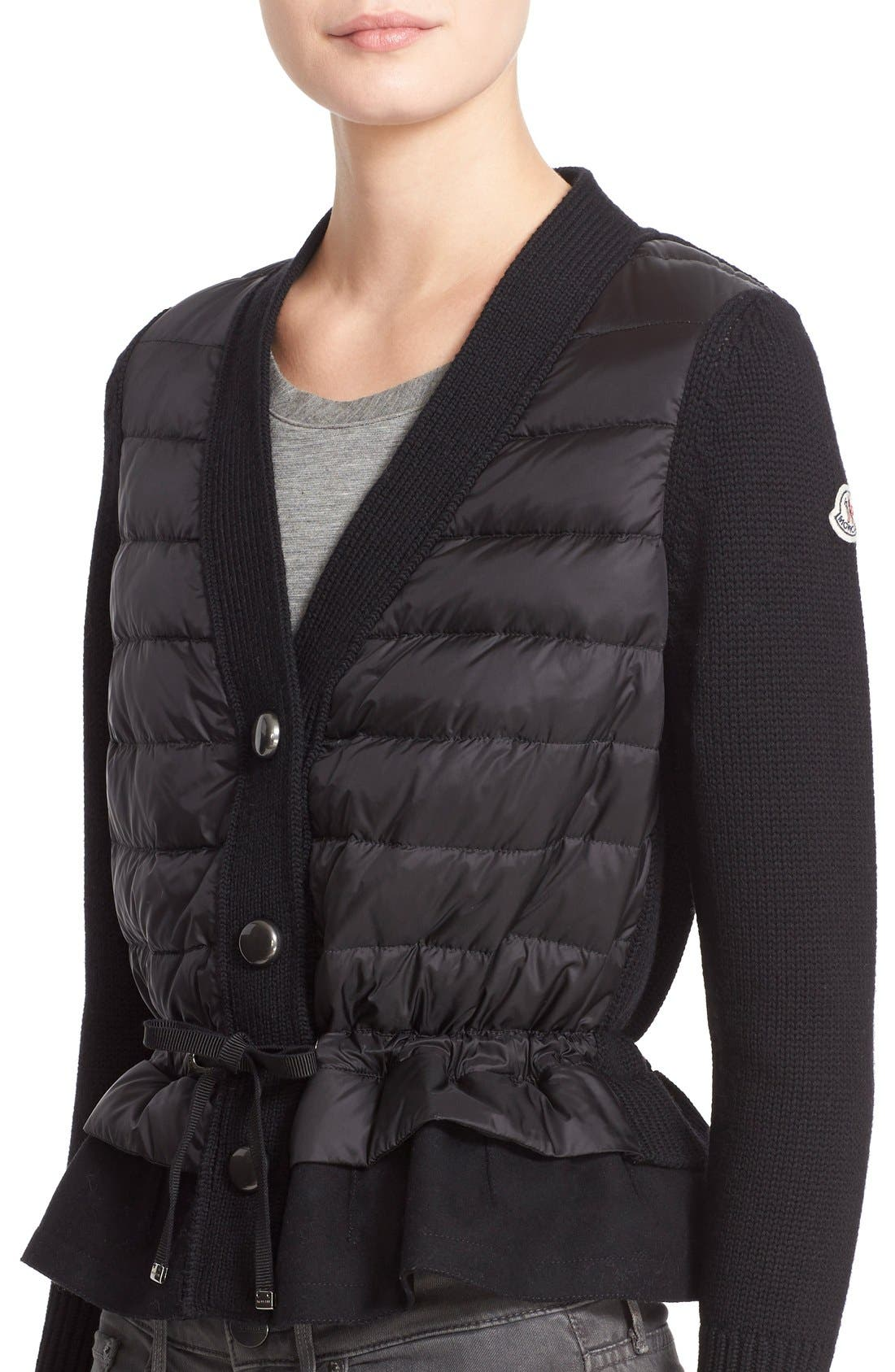 Quilted Down Front Wool Cardigan,                             Alternate thumbnail 7, color,                             Black