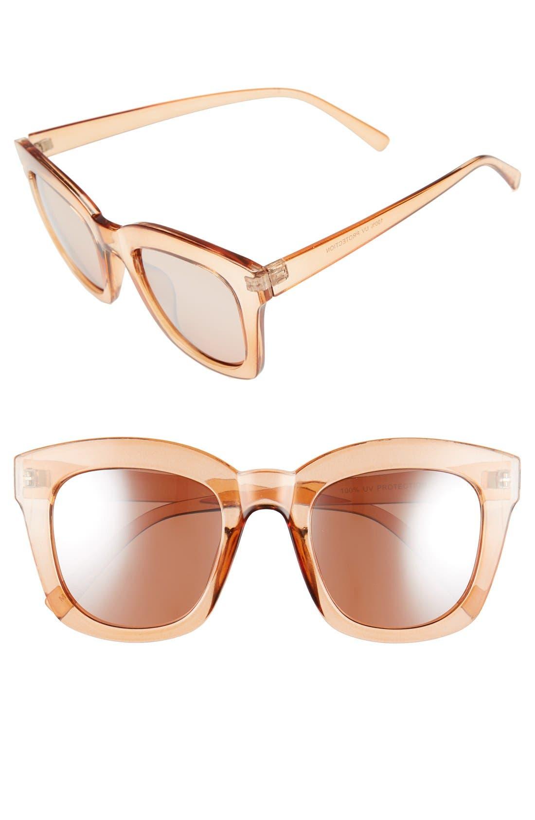 50mm Mirror Square Sunglasses,                         Main,                         color, Rose Gold