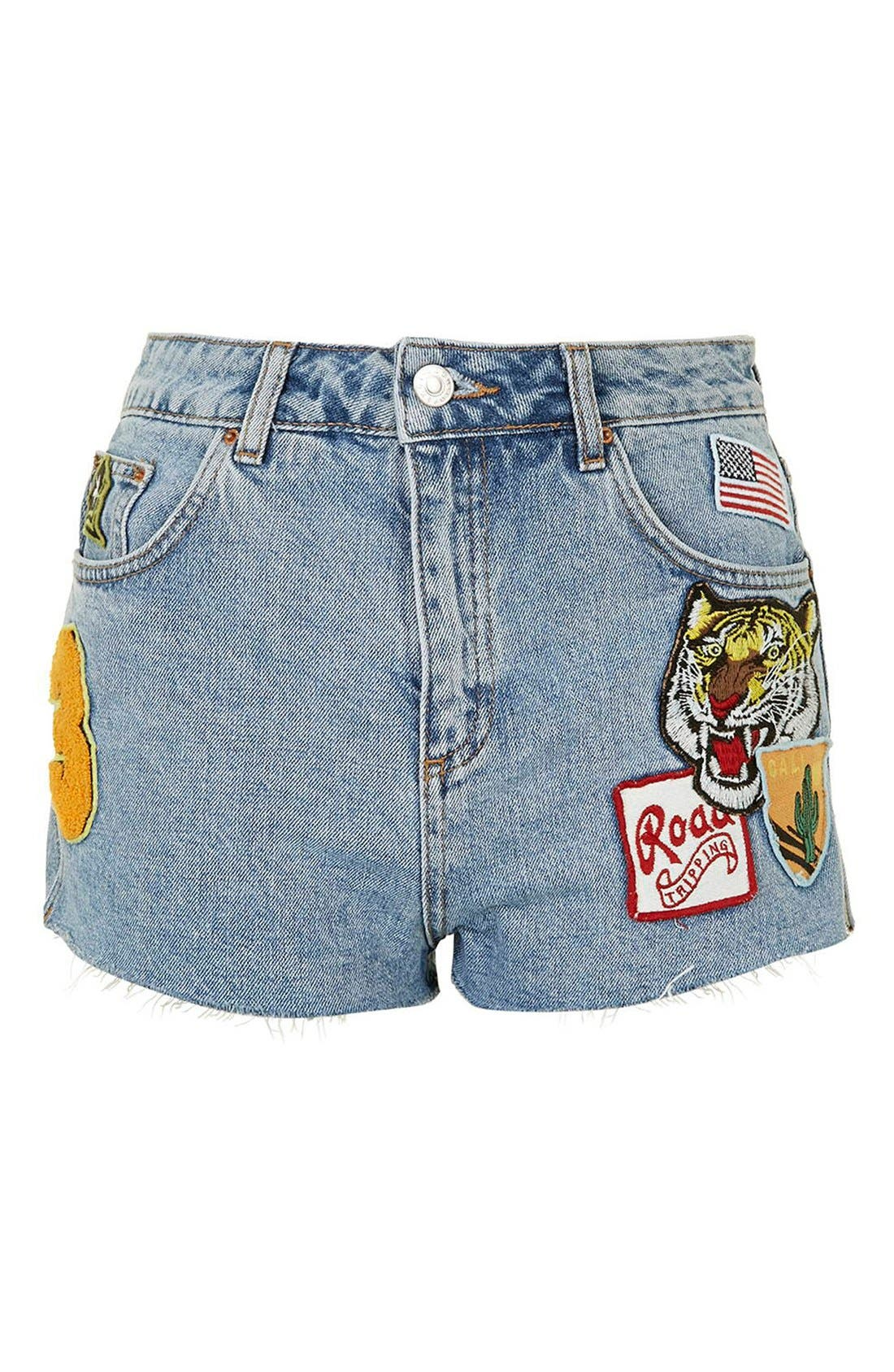 Alternate Image 4  - Topshop Badge Detail Cutoff Denim Shorts (Regular & Petite)