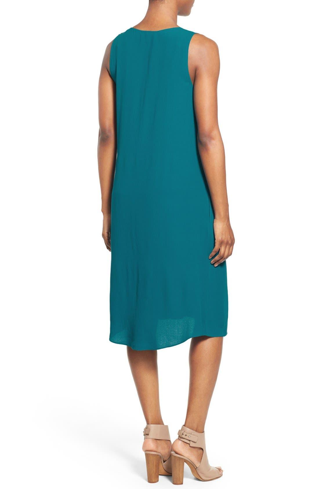 Alternate Image 2  - Eileen Fisher Silk V-Neck Shift Dress (Regular & Petite)